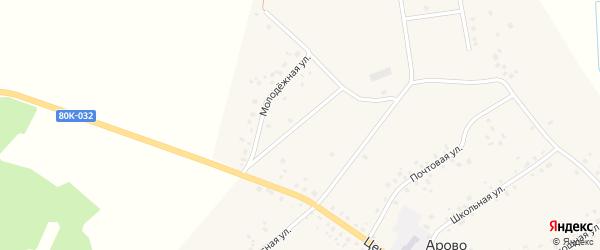 Молодежная улица на карте деревни Арово с номерами домов