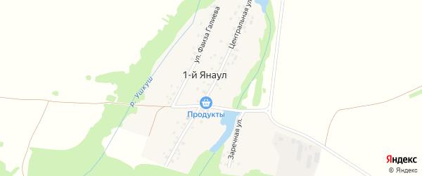 Центральная улица на карте деревни 1-й Янаула с номерами домов