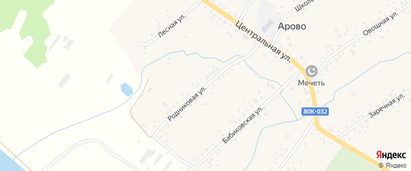 Родниковая улица на карте деревни Арово с номерами домов
