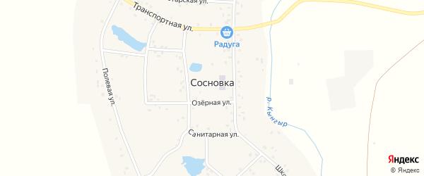 Озерная улица на карте деревни Сосновки с номерами домов