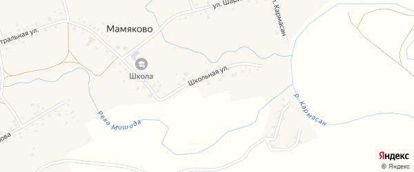 Школьная улица на карте деревни Мамяково с номерами домов