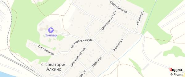 Центральная улица на карте села Санатория Алкино с номерами домов