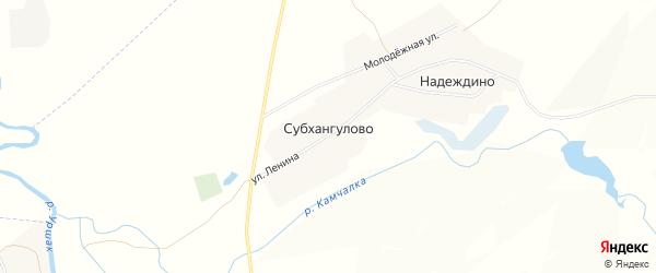 Карта деревни Субхангулово в Башкортостане с улицами и номерами домов