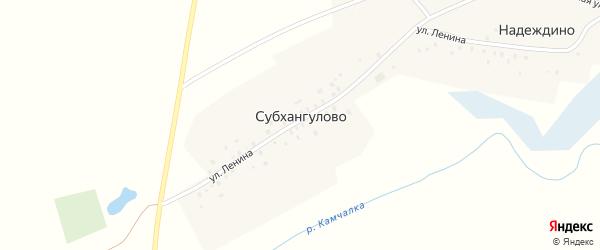 Молодежная улица на карте деревни Субхангулово с номерами домов