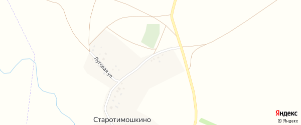 Луговая улица на карте деревни Старотимошкино с номерами домов