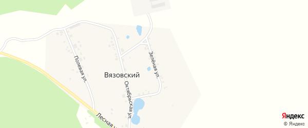 Зеленая улица на карте деревни Вязовского с номерами домов