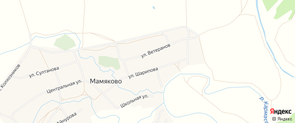 Карта деревни Мамяково в Башкортостане с улицами и номерами домов