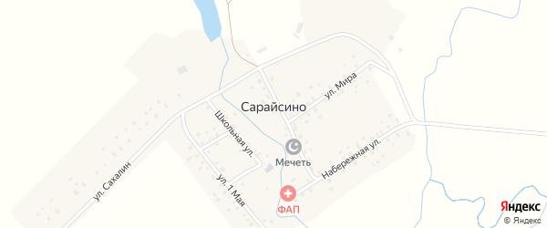 Школьная улица на карте деревни Сарайсино с номерами домов