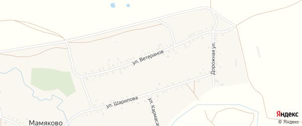 Улица Ветеранов на карте деревни Мамяково с номерами домов