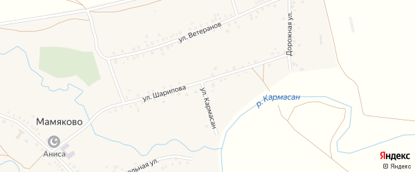 Улица Шарипова на карте деревни Мамяково с номерами домов