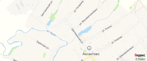 Центральная улица на карте села Аксаитово с номерами домов