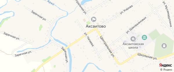 Улица Чапаева на карте села Аксаитово с номерами домов
