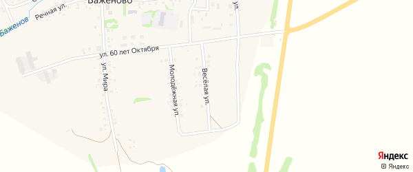 Веселая улица на карте села Баженово с номерами домов