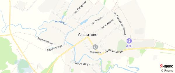 Карта села Аксаитово в Башкортостане с улицами и номерами домов