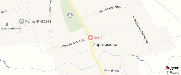 Центральная улица на карте села Ибрагимово с номерами домов