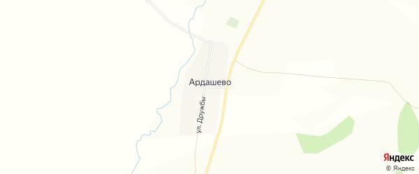 Карта деревни Ардашево в Башкортостане с улицами и номерами домов
