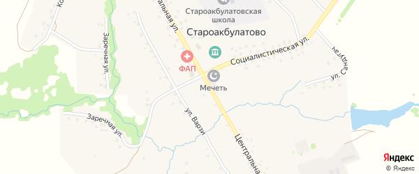 Центральная улица на карте села Староакбулатово с номерами домов