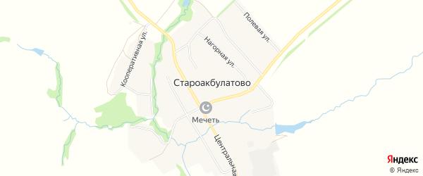 Карта села Староакбулатово в Башкортостане с улицами и номерами домов