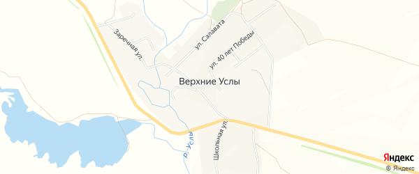 Карта села Верхние Услы в Башкортостане с улицами и номерами домов