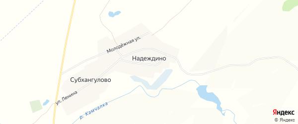 Карта деревни Надеждино в Башкортостане с улицами и номерами домов