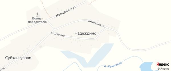 Школьная улица на карте деревни Надеждино с номерами домов