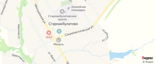 Социалистическая улица на карте села Староакбулатово с номерами домов