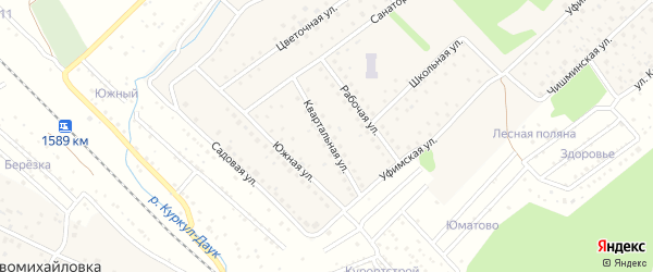 Квартальная улица на карте села Санатория Алкино с номерами домов