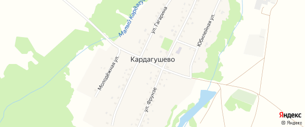 Юбилейная улица на карте деревни Кардагушево с номерами домов