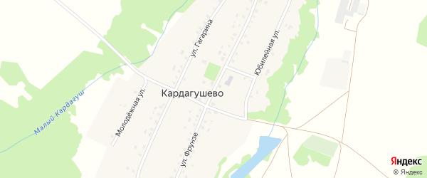 Улица Фрунзе на карте деревни Кардагушево с номерами домов