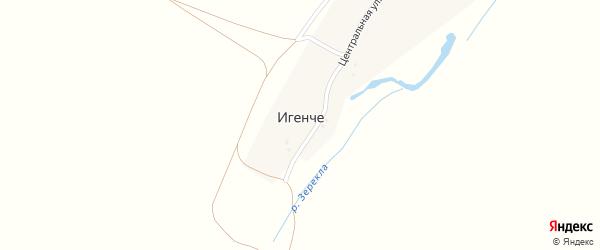 Центральная улица на карте деревни Игенче с номерами домов