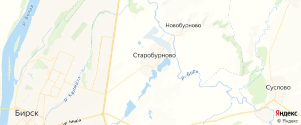Карта Бурновского сельсовета республики Башкортостан с районами, улицами и номерами домов
