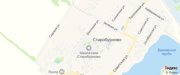 Школьная улица на карте села Старобурново с номерами домов