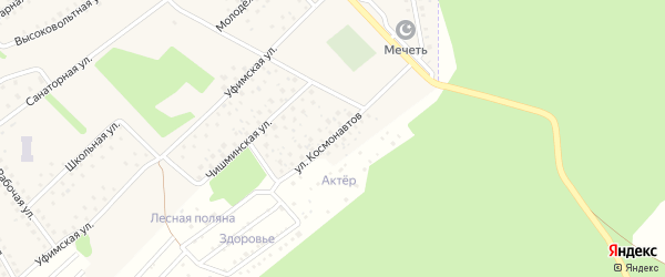 Улица Космонавтов на карте села Санатория Алкино с номерами домов