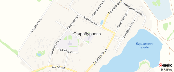 Озерный переулок на карте села Старобурново с номерами домов