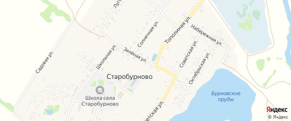 Зеленая улица на карте села Старобурново с номерами домов