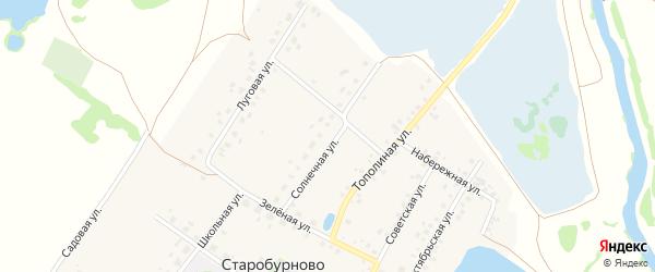Солнечная улица на карте села Старобурново с номерами домов