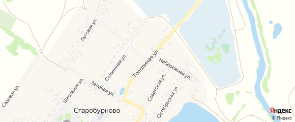 Тополиная улица на карте села Старобурново с номерами домов