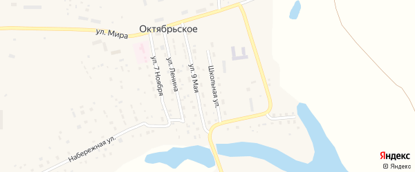 Школьная улица на карте Октябрьского села с номерами домов