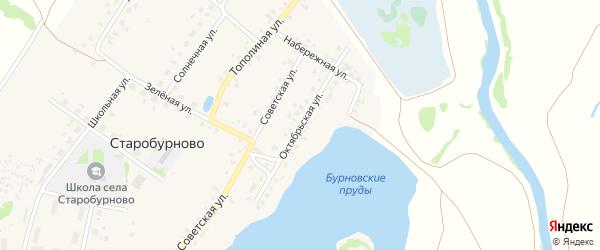 Октябрьская улица на карте села Старобурново с номерами домов