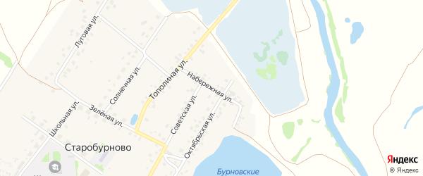 Набережная улица на карте села Старобурново с номерами домов
