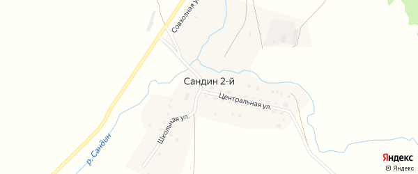 Сандинская улица на карте хутора Сандина с номерами домов