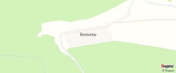 Лесная улица на карте деревни Бильязы с номерами домов