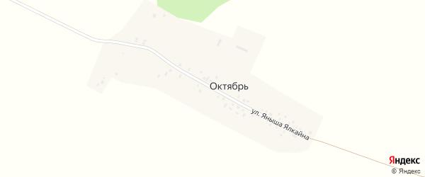 Улица Яныша Ялкайна на карте деревни Октября с номерами домов