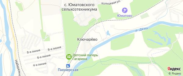Карта деревни Ключарева в Башкортостане с улицами и номерами домов