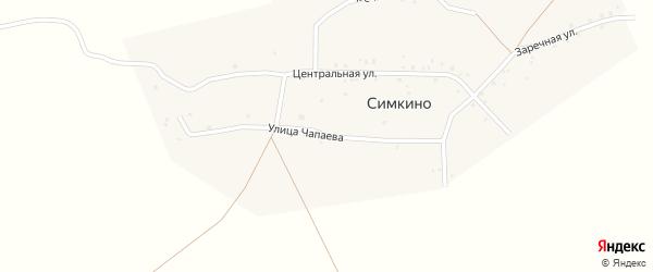 Улица Чапаева на карте села Симкино с номерами домов