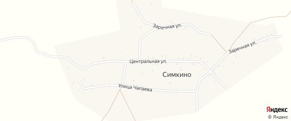 Центральная улица на карте села Симкино с номерами домов