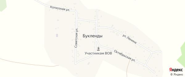 Центральная улица на карте деревни Буклендов с номерами домов