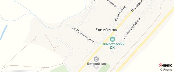 Улица Мустая Карима на карте села Елимбетово с номерами домов