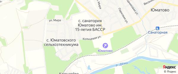 Карта села Санатория Юматово имени 15-летия БАССР в Башкортостане с улицами и номерами домов