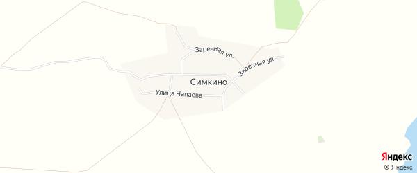 Карта села Симкино в Башкортостане с улицами и номерами домов